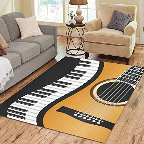 InterestPrint Area Rug Piano Keyboards Guitar Area Rugs Floor Cover for Living Room Dining Room Bedroom Place Mat 7' x 5'
