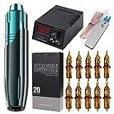 GHHYS Máquina de tatuaje híbrido pluma rotativa con fuente de alimentación de pantalla mini digital, kit de pistolas de tatuaje con 20 agujas de tatuaje, adecuado para principiantes y profesionales