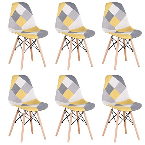 EGOONM Lot de 6 Chaise de Salle à Manger Multicolor Patchwork,Chaises en Tissu de Lin Loisirs Salon,Chaises avec Dossier à Coussin Souple (Jaune-6)