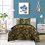 Dream Factory Kids 7-Piece Complete Set Easy-Wash Comforter Bedding, Full, Green Geo Camo
