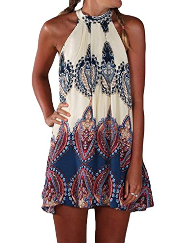 PAKULA Women's Sleeveless Vintage Printed Ethnic Style Casual Dress, Blue, Small