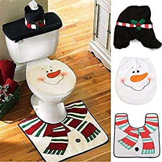 Awsaccy Christmas Snowman Santa Toilet Seat Cover and Rug Set for Bathroom Home Christmas Xmas Funny Decorations Ornament Decor Gift Set of 3 Pieces