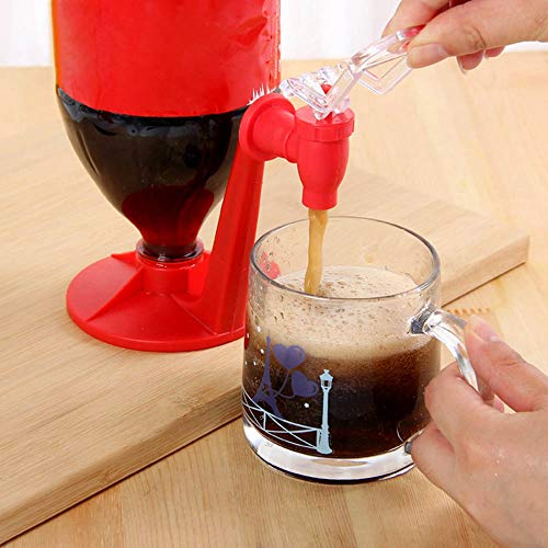 Eutuxia Upside Down Soda Dispenser. Enjoy Drinking Juice, Coffee, Water, Soda Beverages & Keep Soda Fizz with Switch Pressure. Great Idea for Creative Home Party Kitchen Tool. [Red]
