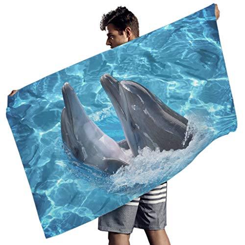 Perstonnoli Ozean Delfin Strandtuch Microfaser Strandtücher Saugfähig Strandhandtuch Badetuch Picknickdecke Strandmatte Yogamatte Strandwurf Rechteckig White 150x75 cm