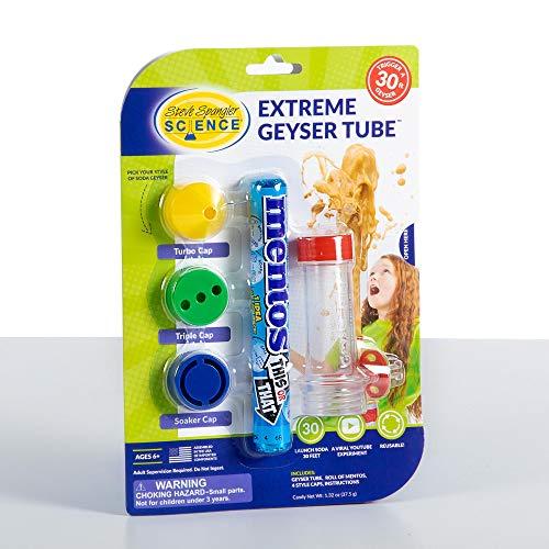 Steve Spangler Science Extreme Geyser Tube Experiment, 1 Tube & 3 Additional Caps – Science Experiment for Kids, Turns Soda Bottle and Mentos into Erupting Geyser, STEM Activity for Classroom/Home Use