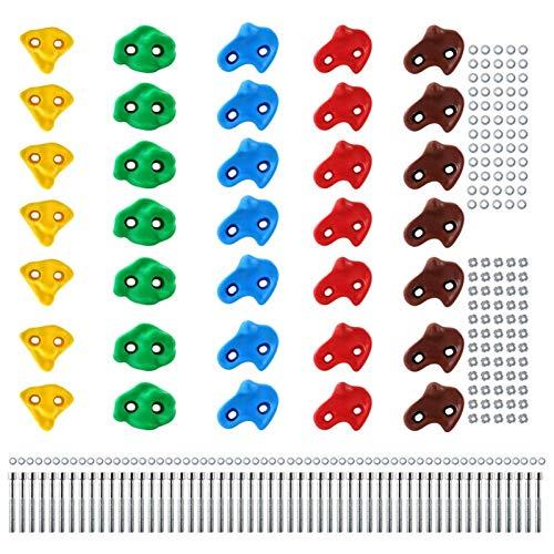 Presas de Escalada para niños, Capacidad de Carga 200 kg, Material de fijación Incluido, Diferentes cantidades Multicolores - 40 Piezas