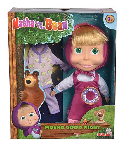 Simba Masha Bambola Cm.30 Day & Night con 2 Melodie Giorno E Notte. Incluso Un, Multicolore, 4006592013035