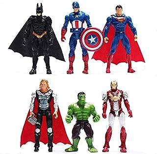 SKEIDO 6pcs Sets Superhero Avengers Iron Man Hulk Captain America Superman Batman Action Figures Gift Collection of Childr...