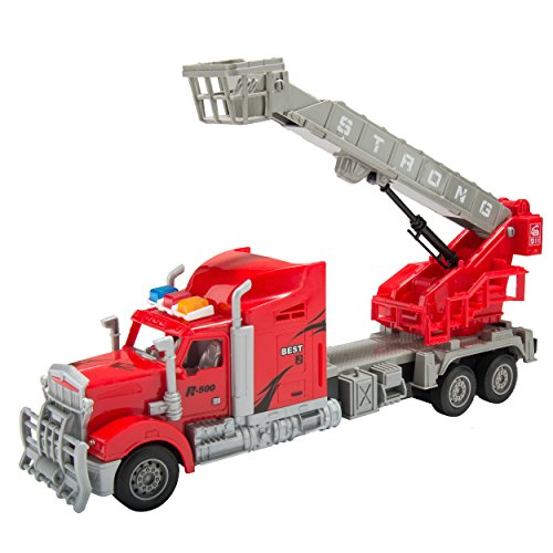 Blue Block Factory BLUEBLOCK Remote Control RC 1:15 Scale Heroic Rescue Truck Featuring Expandable and Rotatable Crane and Basket with Sounds and Lights, for Boys, Ages 3+