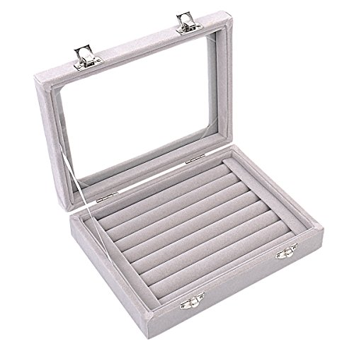 Ivosmart 7 Slots Velvet Glass Ring Jewellery Display Storage Box Tray Case Holder Earring Organizer Stand Grey