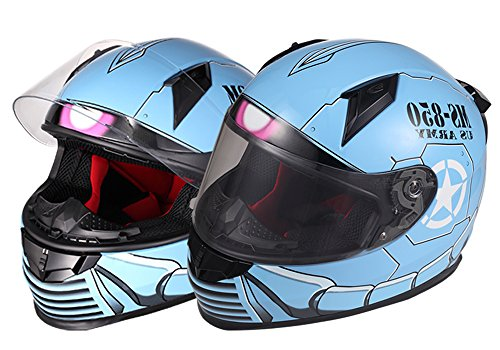 OSNICH Japanese Anime Full Face Motorcycle ATV Street Bike Helmet MS-850 Warrior (Adult and Youth Sizes, DOT Certified)