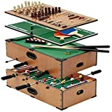 Deluxe 5 in 1 Table Game Set - Football - Ping Pong - Pool - Chess - Backgammon - Great Games Easy to Play and Quick Transformation, Compact Construction