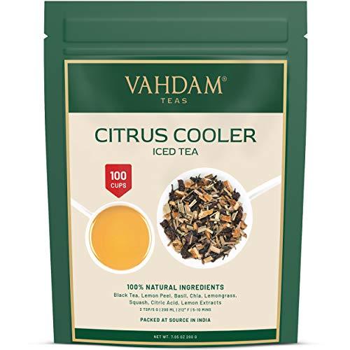 VAHDAM, Citrus Cooler Eistee | 40 Portionen | 100{80a47063ac1fda4e3c96be17ff11586c4db3ba86e16aacdf35784a4de3bab747} natürliche Inhaltsstoffe | Köstlicher Geschmack von schwarzem Tee & Zitronen-Zitrusfrüchten | Zitronen-Eistee | Eistee Loseblatt | 100 g (2er-Set)