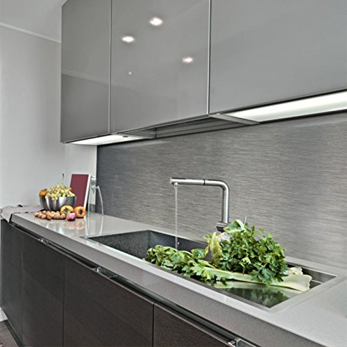 KERABAD Küchenrückwand Küchenspiegel Wandverkleidung Fliesenverkleidung Fliesenspiegel aus Aluverbund Küche Silber-Gebürstet Edelstahl ähnlich 30x100cm