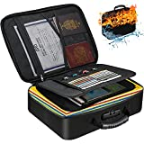 Fireproof Document Bag, Water-Resistant File Bag with Lock for Important Documents Organizer, Portable Storage Safe Bag for Travel Home Office and Files Certificates, Gift for Women and Men (Black)