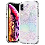 MOSNOVO Case for iPhone Xs/iPhone X, Gradient Rainbow Henna Mandala Printed Clear Design Transparent Plastic Back Case with TPU Bumper Protective Case Cover for Apple iPhone X/iPhone Xs