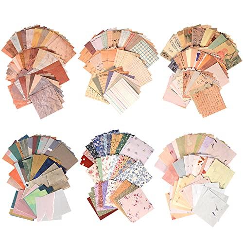 Eokeey 360 Blätter Scrapbook Zubehör, Vintage Scrapbook Papier Scrapbooking Zubehör mit viele Muster, Dekorative Bullet Journal Zubehör für Fotoalbum Kalender Notizbuch...