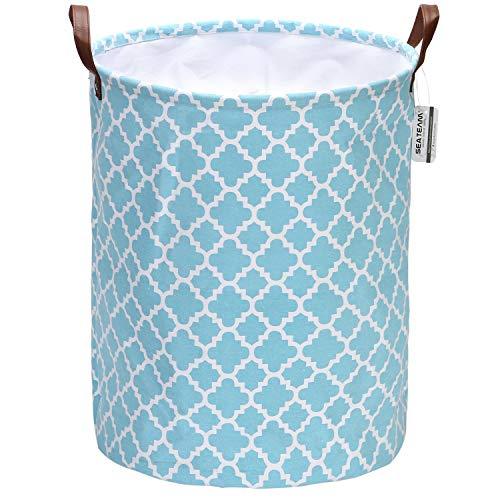 Sea Team - Cesta de Tela para la Colada con diseño marroquí, Plegable, con Asas de Piel sintética y Cierre de cordón, Interior Impermeable