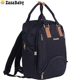 【赠奶瓶保温袋+隔尿垫】英国ZazaBaby za-1010妈咪包,17个口袋,内置保温口袋设计,干湿分离,多功能大容量双肩外出背包时尚妈妈包母婴背包 (黑色)