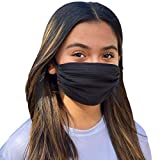Adult Black Mask, Breathable, Single Layer, Cotton, Lightweight, Washable, Adjustable and Reversible, 6x7
