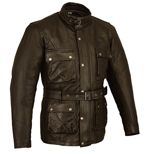 Braun Classic Waxed & Oiled Leather Cowhide Motorcycle Motorbike Jacked Armoured by Bikers Gear UK, Braun, 2XL