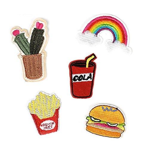 Gudeke DIY Burger Fischrogen Getränk SequinsStickerei Bag Einkaufstaschen Buiter Tuch Fahnen Klettverschluss Für Kinder Männer Frauen (10piece)