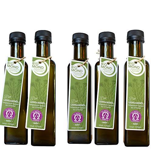 BIO Leinsamenöl Leinöl BIOMOND / 250 ml / AKTION 3 plus 2 / 2 Flaschen GRATIS / tagesfrisch kalt gepresst / Rohkostqualität