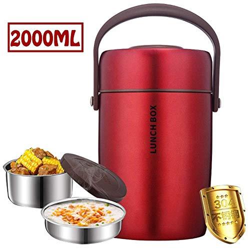 Fiole alimentaire isolée sous vide, 2L grande capacité 2 couches en acier inoxydable Thermos Pot alimentaire, récipient alimentaire étanche pour aliments ou boissons à garder au chaud ou au froid, ro