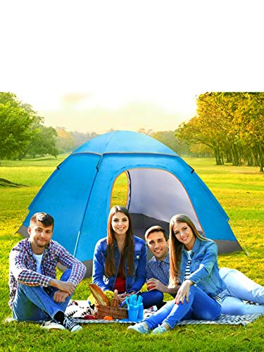 Camping Pop Up Tent Automatic Portable Instant Tent UV Protection Hiking Outdoor Tent Waterproof Foldable Sun Shelter for 1-3 Person with 1 Carry Bag + 4 Ground Nails