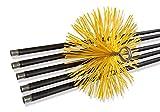 Kibros 4KIT_18b - Kit de deshollinador de conductos forrados, cepillo de erizo sintético, diámetro 180 mm, 7 metros en 5 cañas de 1,40 m, chimeneas, estufas, calderas, canalones, canalones