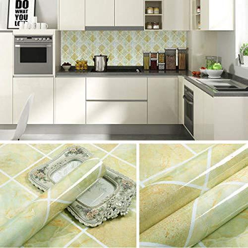 Dikke Marmeren Meubels aanrecht Sticker Deur Garderobe Steen zelfklevende Muurstickers Waterdichte Behang 0.6m * 5m Light Green Rhombic