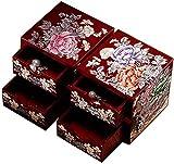 WXking Boîte de rangement chinoise, artisanat, boîte de rangement de bijoux, coiffeuse, laque de...