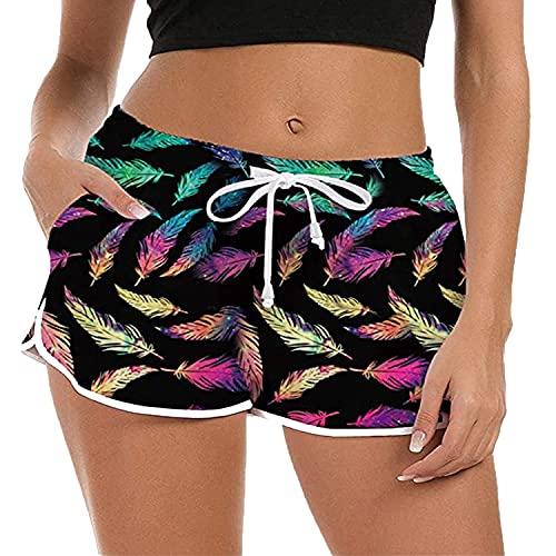 ZIOOER Damen Badeshorts Sommer 3D Grafik Badehose Schnell Trocknendes Schwimmhose Kurze Strand Hot Pants Pamajas Boardshorts Jogginghose Yogahose Rotwein XL