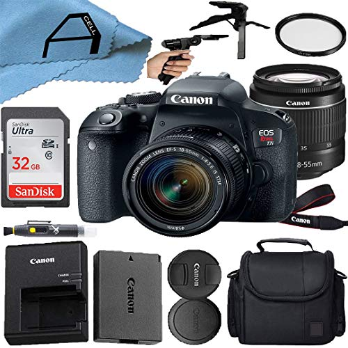 Canon EOS Rebel T7i DSLR Camera 24.2MP Sensor with EF-S 18-55mm is STM Lens, SanDisk 32GB Memory Card, Case, Tripod and A-Cell Accessory Bundle (Black)