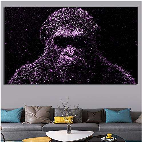 NO BRAND Caesar Planet of The Apes Poster Painting Gorilla Animal Scandinavia Carteles e Impresiones Wall Art Pictures for Living -60x100cm Sin Marco
