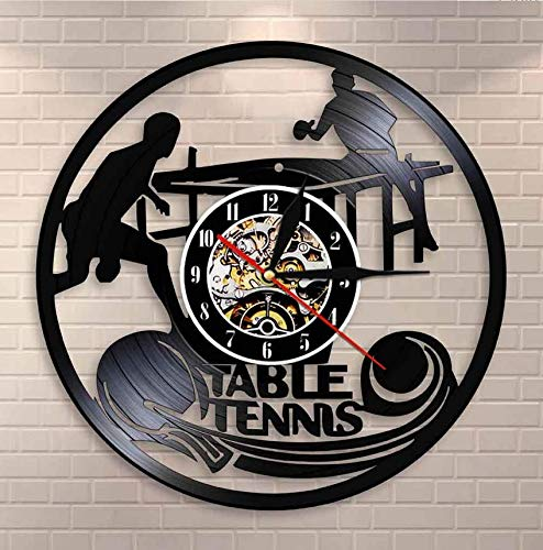 XZXMINGY Vinyl wall clock 12 inches Table Tennis Wall Clock Table Tennis Club Wall Sign Vinyl Record Wall Clock Home Decor Ping Pong Vintage Clock Watch Sports Gift