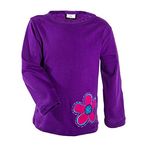 KUNST UND MAGIE farbenfrohe Bunte Kinder T-Shirts mit Blumen Stickerei Goa Hippie, Farbe:Lila, Größe:134-140