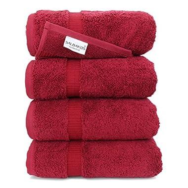 SALBAKOS Luxury Hotel & Spa Turkish Cotton 4-Piece Eco-Friendly Bath Towel Set 27 x 54 Inch, Wine