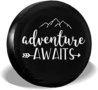 ZP-CCYF Adventure Awaits Arrow Universal Fit Tire Covers Waterproof Dust-Proof Spare Tire Cover for Jeep,Trailer, RV, SUV Truck and Many Vehicle Size 14