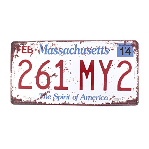 6x12 Inches Vintage Feel Rustic Home,Bathroom and Bar Wall Decor Car Vehicle License Plate Souvenir Metal Tin Sign Plaque (Massachusetts 261 MY2)