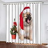 KLily Un Par De Cortinas para Perros De Navidad Caperucita Roja Dormitorio Infantil Bufanda para Perros Sombreado Cortinas Personalizadas Cortinas Divisorias con Ojales Poliéster Impermeable Ytérmico
