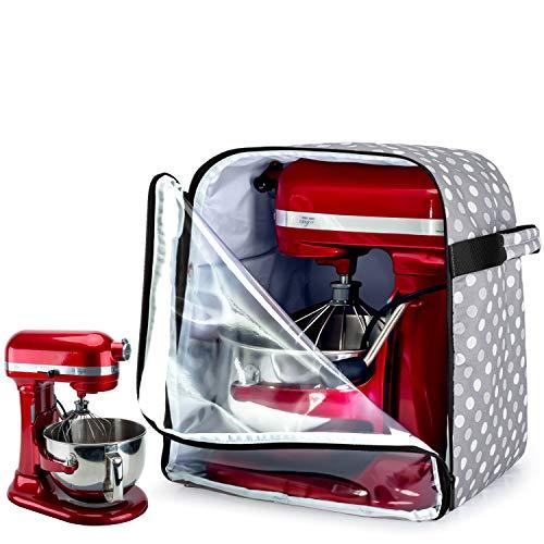 Luxja Housse de Kitchenaid, Housse pour KitchenAid Robot avec Panneau Avant Transparent, Housse de Protection Anti-Poussière pour KitchenAid Robot (Convient pour 5,6-7,5 Litres), Points Gris