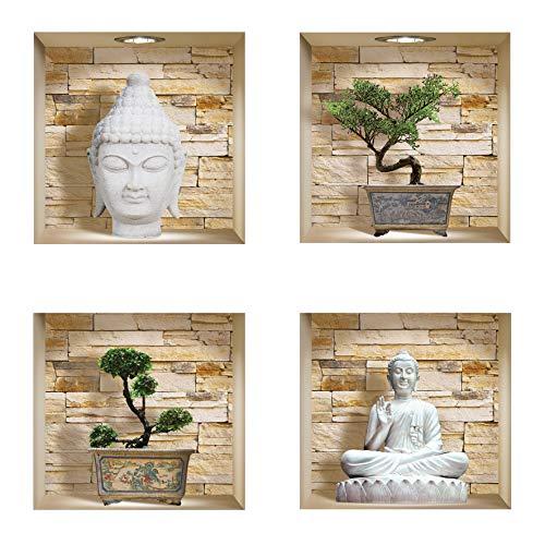 The Nisha DIY Pegatinas Etiquetas para Pared Desmontables de Vinilo 3D Arte Mágico, Conjunto de 4, Piedras de Buda y Bonsai