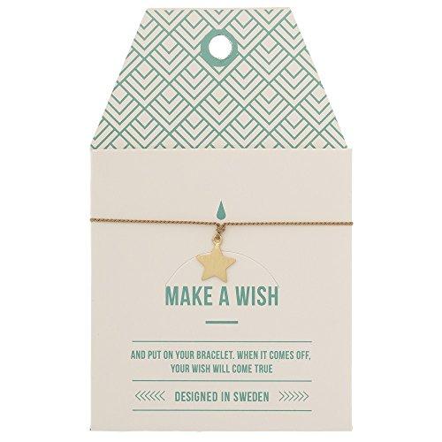 Mint TIMI of Sweden Wunschkarte Stern Star Armband Silk Gold Mocca Freundschaftsarmband Make a Wish