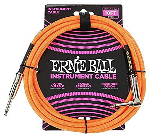 Ernie Ball Instrument Cable, Neon Orange, 10 ft. (P06079)
