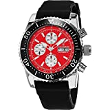Revue Thommen Automatic Chronograph Dive Watch - 45mm Red Face with Luminous Hands, Day, Date, Tachymeter Scale and Divers Bezel - Black Rubber Band Swiss Made Waterproof Diving Watch 17030.6536