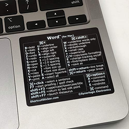 Synerlogic Electronics Microsoft Word (for Mac) Cheat Sheet Reference Guide Keyboard Shortcut Sticker, Durable Vinyl, Temporary Adhesive, Size 2.8x2.5 (Black)