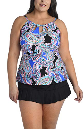 24th & Ocean Women's Plus Size High Neck Adjustable Neckline Tankini Swimsuit Top, Multi//Lahaina Lovely, 22W
