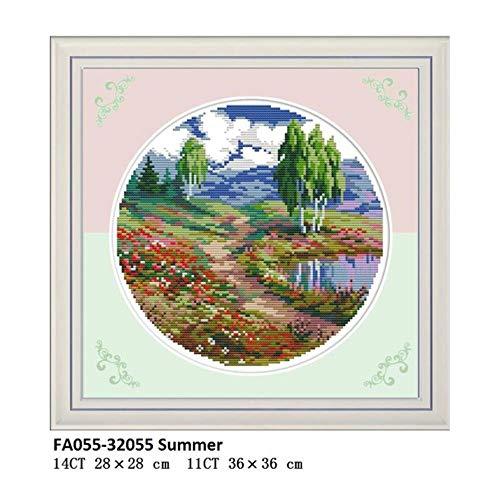 Kit de bordado de tela de punto de cruz estampado Aida impreso en lienzo Patrones de cuatro estaciones Decoración de hogar de costura de bricolaje, punto de cruz FA055,11CT Cavanes blancos