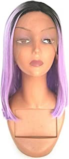 Remeehi Short Straight Bob Full Head Wigs None Lace Full Head Wig For Women Purple 8inch
